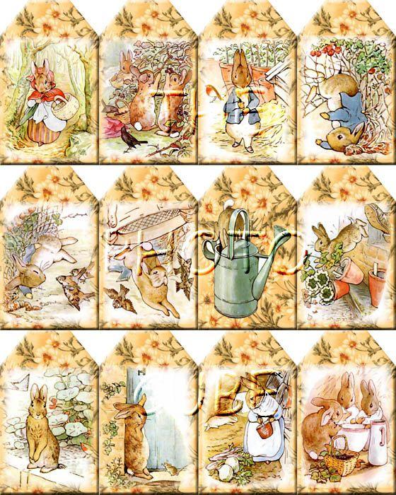 Peter Rabbit ViNtAgE ArT Hang/Gift Tags -Printable Collage Sheet Download JPG Digital File-Buy ONe Get ONe FREE