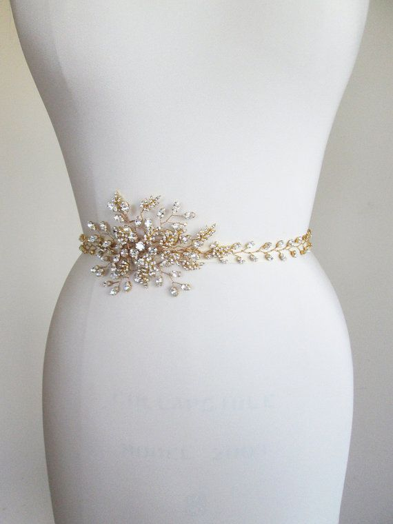 Swarovski Bridal crystal belt sash, Rhinestone wedding belt sash, Waist sash beaded rhinestone belt, Swarovski sash in gold or silver