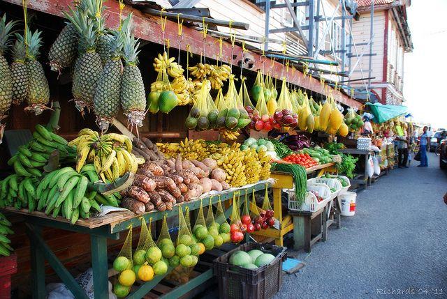 Market in Georgetown, Guyana. Look at those huge pineapples!