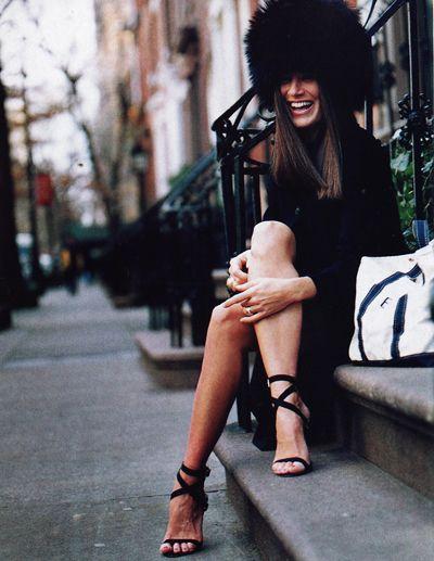 Elizabeth Saltzman, Elle Decor, October 2002: Models, Crazy Hats, Fashion Style, Black Shoes, Fashion Inspiration, Accessories, Fur Hats, Rocks, Street Chic