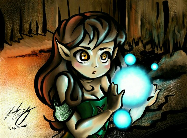 My first drawing done on Krita with digital sketch pad. Drawing of a little elven girl in a cave holding one big and other small blue orbs.