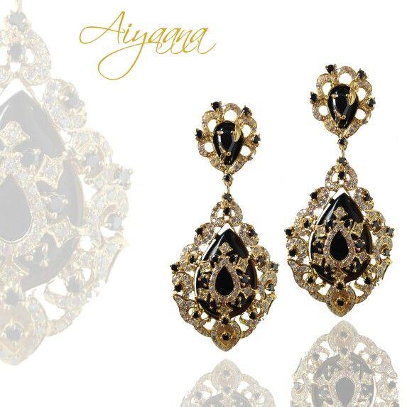 Black onyx and american diamond earrings. Set in silver. Aiyaana jewellery www.aiyaana.com