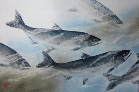 Under the Lake Winds- Limited Edition Reproduction of gyotaku of King Salmon via Etsy