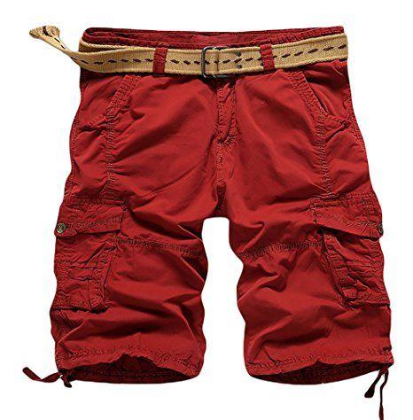 YiJee Pantaloncini Sportivi Spiaggia Leisure Bermuda Shorts per Uomo Rosso 34