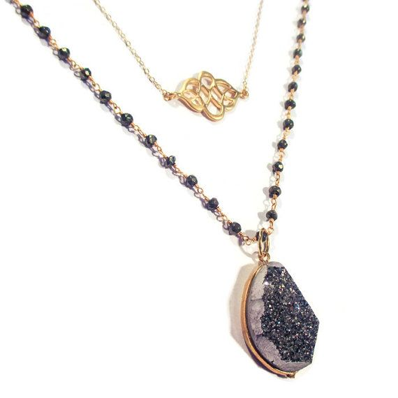 Polished Grey Druzy Layered Necklace by IZZIEandOLIN on Etsy