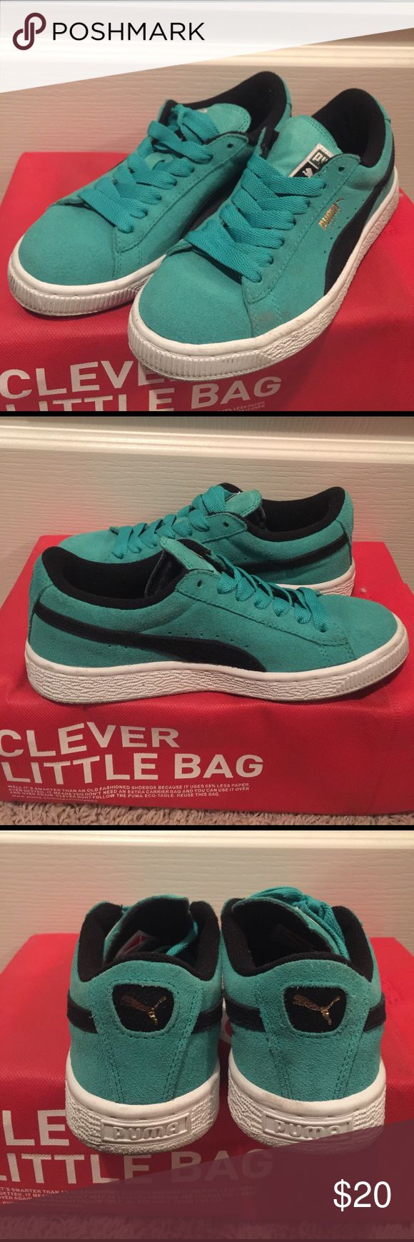 Junior Puma Suedes, Teal Used Puma Suedes, 6/10 static appeal with creases, junior size 4 Puma Shoes Sneakers
