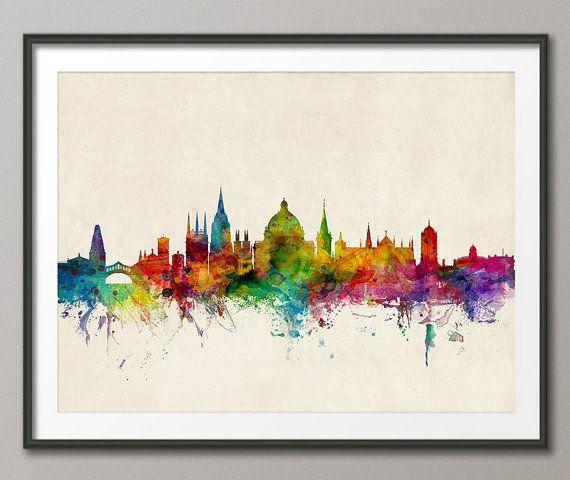 Oxford Skyline, Oxford England Cityscape Art Print (1024)