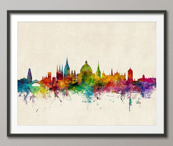 Oxford England Skyline, art print    Frame/Matte is not included.  Available sizes are shown in the SELECT A SIZE drop down menu above the ADD TO CART