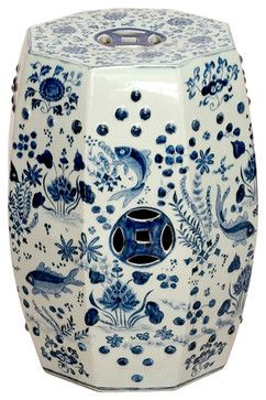 Octagon Blue and White Koi Fish Ceramic Garden Stool Seat asian ottomans and cubes