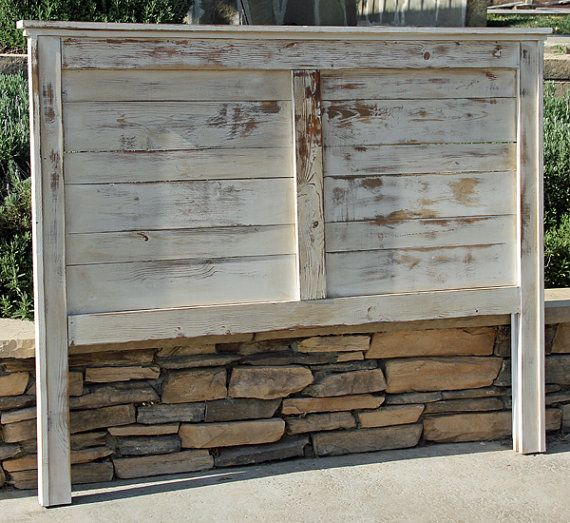 Rustic Farmhouse Bed Queen Farmhouse headboard with extra vertical wood detail Painted and heavy distressed . This bed was built, painted, distressed, pickled and stained! Rustic Farmhouse Bed Need a different size let me know I LOVE custom orders. Customer can pick any stain or paint. Customer will need to attach to own bedframe (see pic 5)  Shipping Price: Door to door, please send me your zip code for a quote.  Local to OC or So Cal??? You can either pick up for our studio or we can…