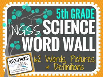 Science Word Wall (NGSS) - 5th Grade - Vocabulary Cards (TWO colors and sizes!)