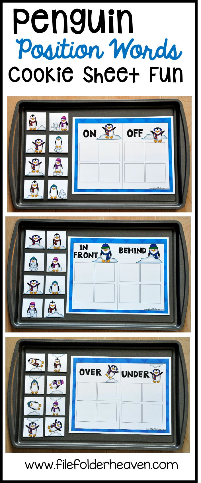 These Penguin Positionals Cookie Sheet Activities include eight unique cookie sheet activities that focus on position words and concepts.  In each activity, students sort pictures of penguins into two categories based on their positions.  Cookie sheet activities included:  Beside/Between Penguins In Front/Behind Penguins Under/Over Penguins On/Off Penguins In/Out Penguins First/Second Penguins Left/Right Penguins Right-Side Up/Upside Down Penguins