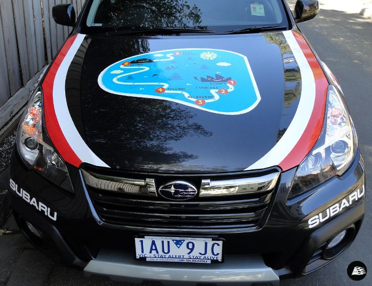 Vehicle Decals, Subaru, The Variety Cycle #charityevent, map bonnet decal