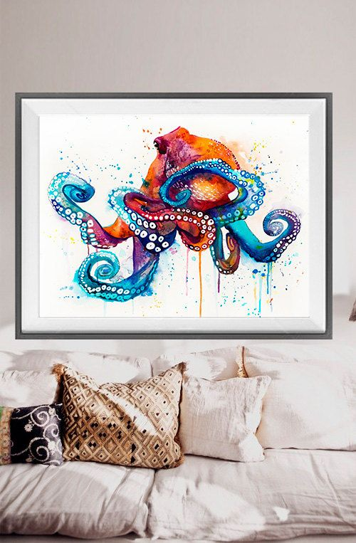 Octopus watercolor painting print Octopus art animal by SlaviART