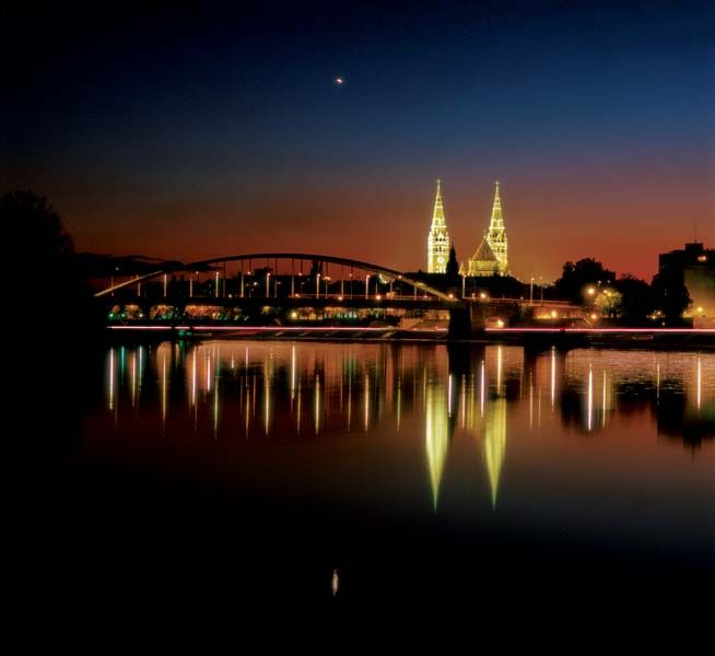 Szeged, Hungary Tisza river by night.