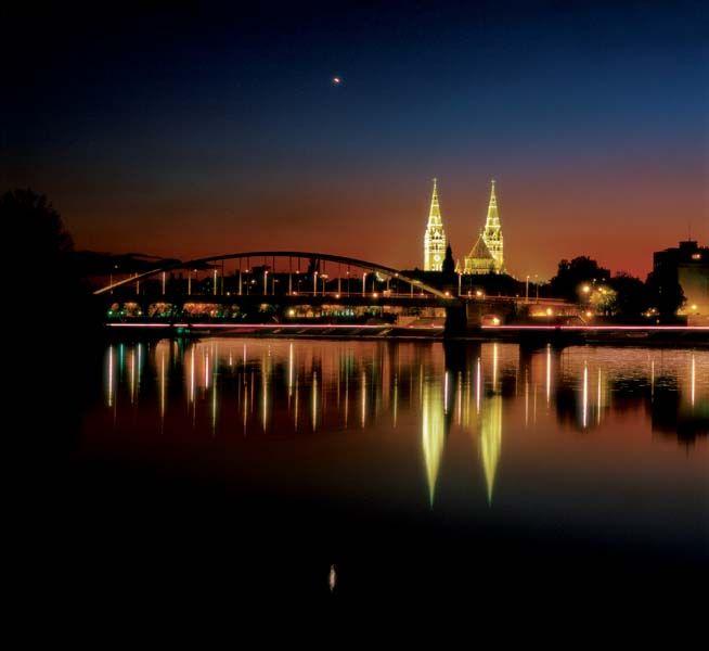 Szeged, Hungary Tisza river by night.
