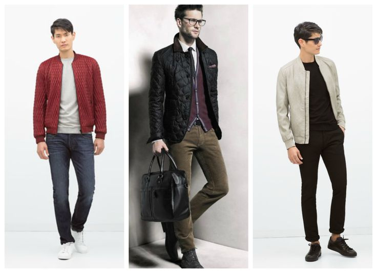 Fall, winter outfits for men - jacket. Red jacket, black jacket and light grey jacket.