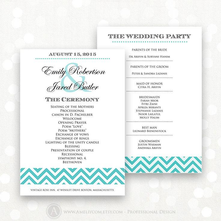 Printable Wedding Programs Instant download EDITABLE PDF Template Blue Teal Chevron - DIY Ceremony Programs - Digital Wedding Program Cards