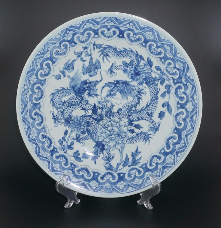 HUGE 34.5cm Antique Chinese Blue and White Porcelain Dragon Plate Charger | eBay