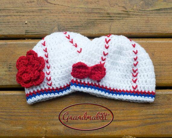 GIRLS BASEBALL BEANIE Hat Crocheted for Baby with by Grandmabilt, $31.00