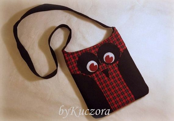 Owl bag, tote, recycled bag, shoulder bag, cross body bag, pink, red black checked