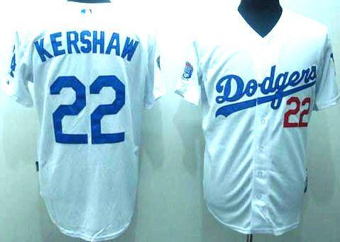 Clayton Kershaw MLB Dodgers #22 Stitched White MLB Jersey