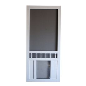 Screen door with a built in doggie door!