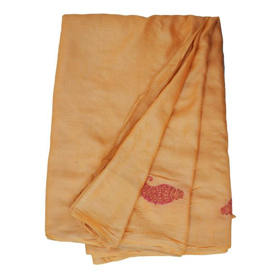 Vintage Indian Craft Saree Pure Silk Embroidered by VintageHaat