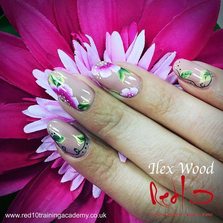 Pretty Summer Nails. She's my Beauty Gelish Nails at Red10 Nail Bar. Summer Nails. One Stroke Nail Art.