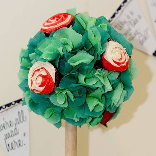 How to make rose trees...  Mad Hatters Tea Party Ideas, Alice in Wonderland Party Theme