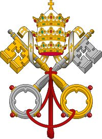 The Holy See--  From Wikipedia   Photo:  Gules, two keys in saltire or and argent, interlaced in the rings or, beneath a tiara argent, crowned or