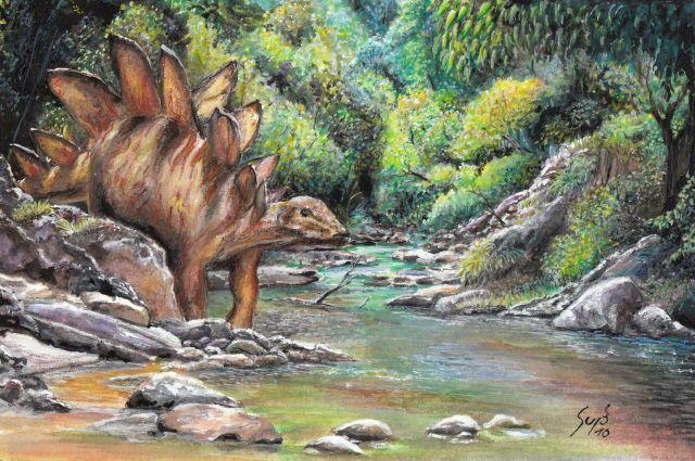 Dinosaur Art Stegosaur at a creek