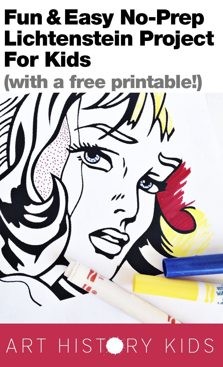 Fun and Easy no-prep, no-mess Lichtenstein project for kids.