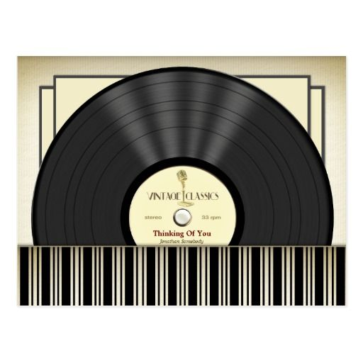 名前入りなヴィンテージのマイクロフォンのレコード 葉書き