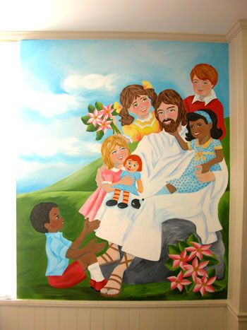 Beautiful mural for sunday school classroom kids bible for Classroom wall mural