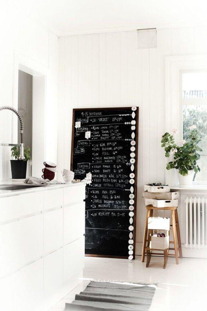 Groot schoolbord voor in de keuken leuk om met krijt steeds wat nieuws op te schrijven - Idee verf grijs keuken ...