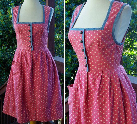 Bavarian ROSE 1960's Vintage Pink  Blue Dirndl by Jewels4pandas, $69.99