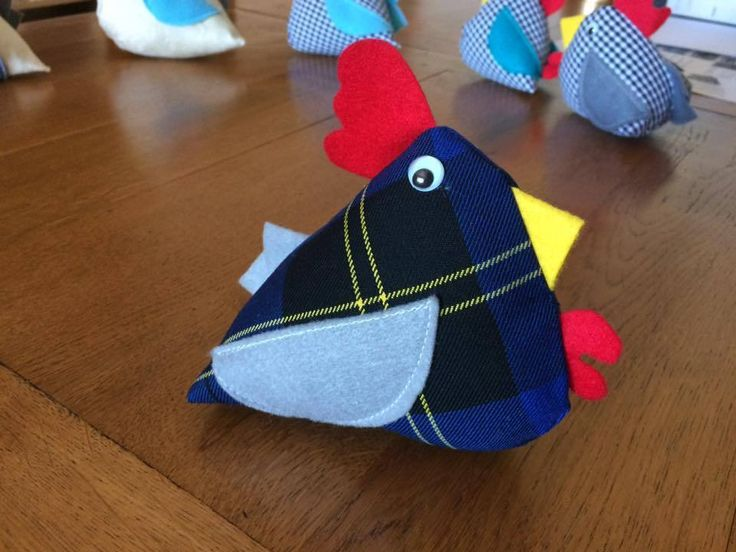 New handmade chicken pincushion soft toy present very cute  funny blue tartan
