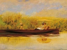 Giuseppe De Nittis,  Ora tranquilla, 1874  Olio su tela, cm. 57x92  Collezione privata