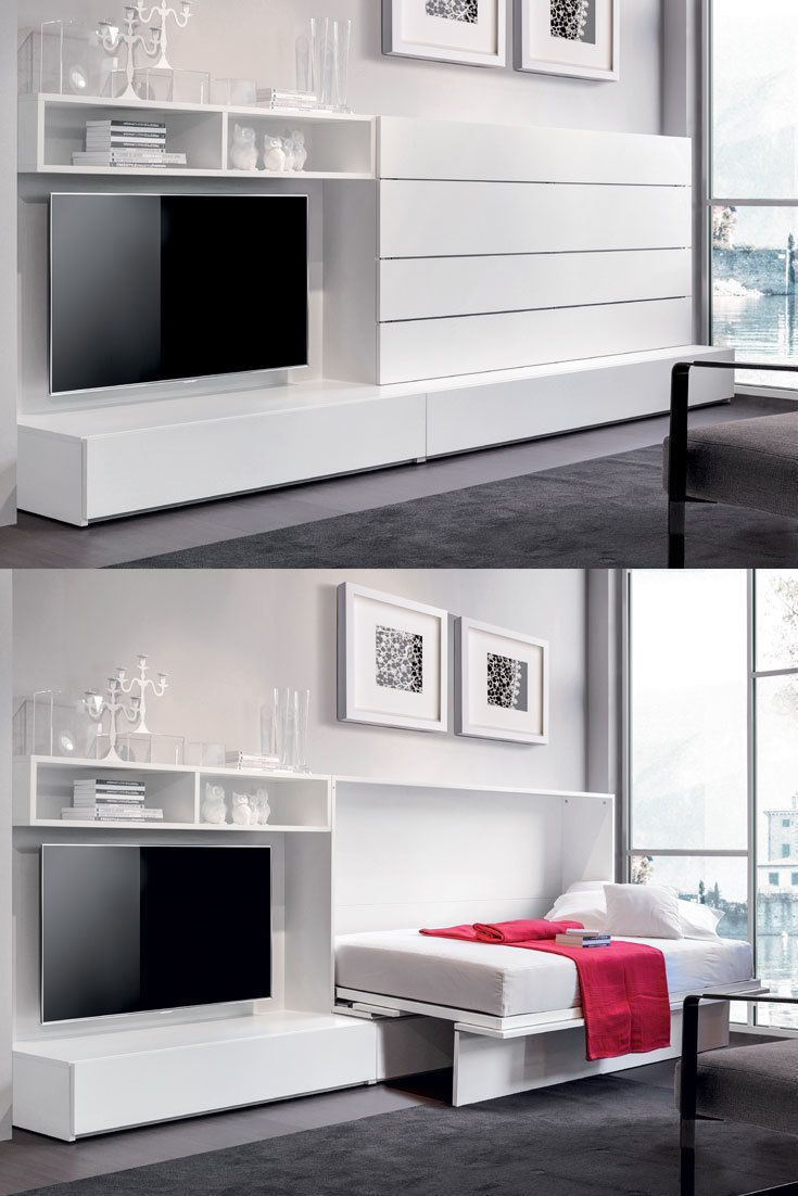 IQ System B by Erba Italia is a modern murphy bed that opens with just a