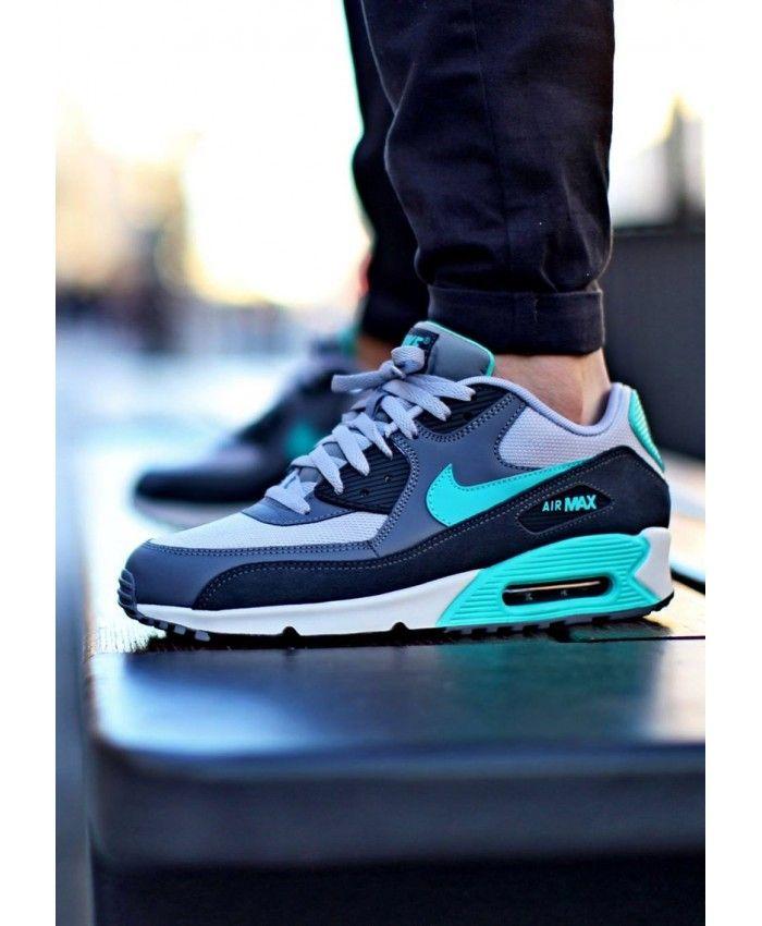 Chaussure Nike Air Max 90 Essential Gris Vert Blanche | Nike ...