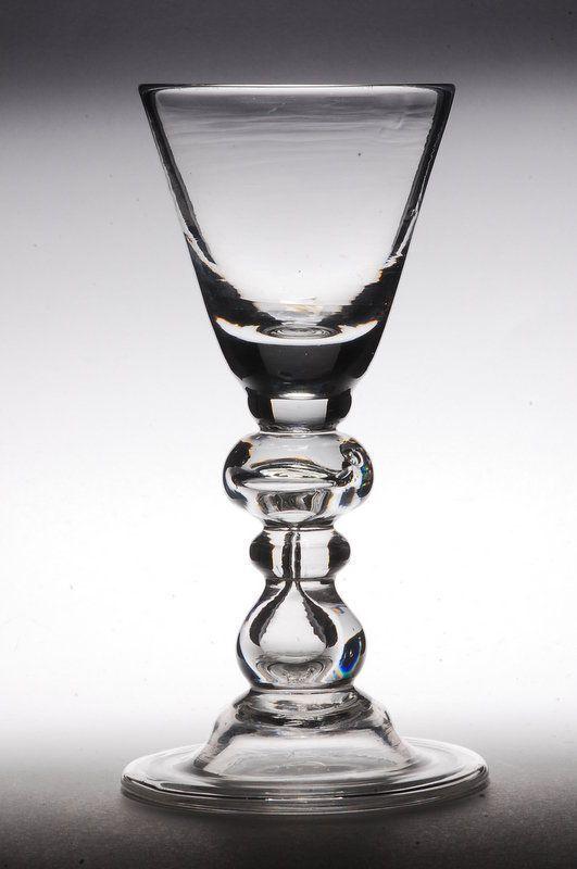 Antique English Heavy Baluster Wine Glass c.1710-20