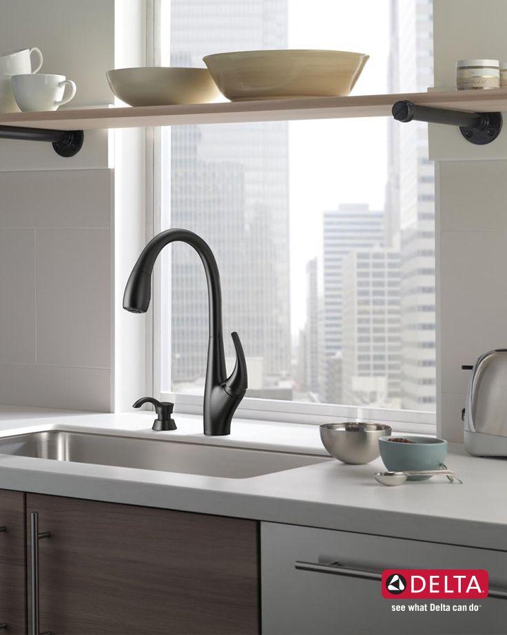 Delta black kitchen faucet party tarp