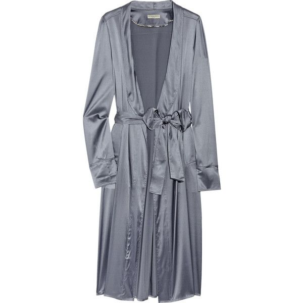 Burberry Trin Silk-Satin Robe ❤ liked on Polyvore featuring intimates, robes, lingerie, underwear, pajamas, sleepwear, women, lingerie robe, blue robe and blue bathrobe