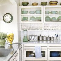 so cleanOpen Shelves, Glasses, Kitchens Ideas, Drawers, Kitchens Cabinets, Open Shelving, Kitchen Cabinets, White Kitchens, Stainless Steel