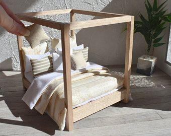 Moderno miniatura de muñecas 1:12 casa sábanas francés Provincial o los Hamptons 10 pieza ropa de cama edredón Set almohadas mantequilla amarillo y blanco