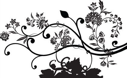 floral background black silhouette design classical style