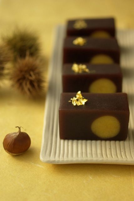 Yokan - (jellied dessert made from red bean paste, agar & sugar) stylish japanese food