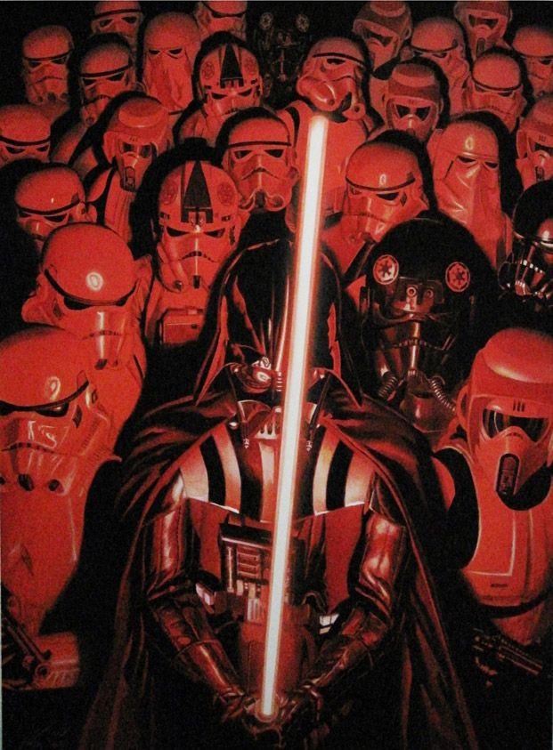 Alex Ross has also created covers for the revived Star Wars comics that have began to sell this year, 2015. In this particular cover, the color palette is limited to blacks, reds, and white. And what he was able to do with these limited resources was incredible.
