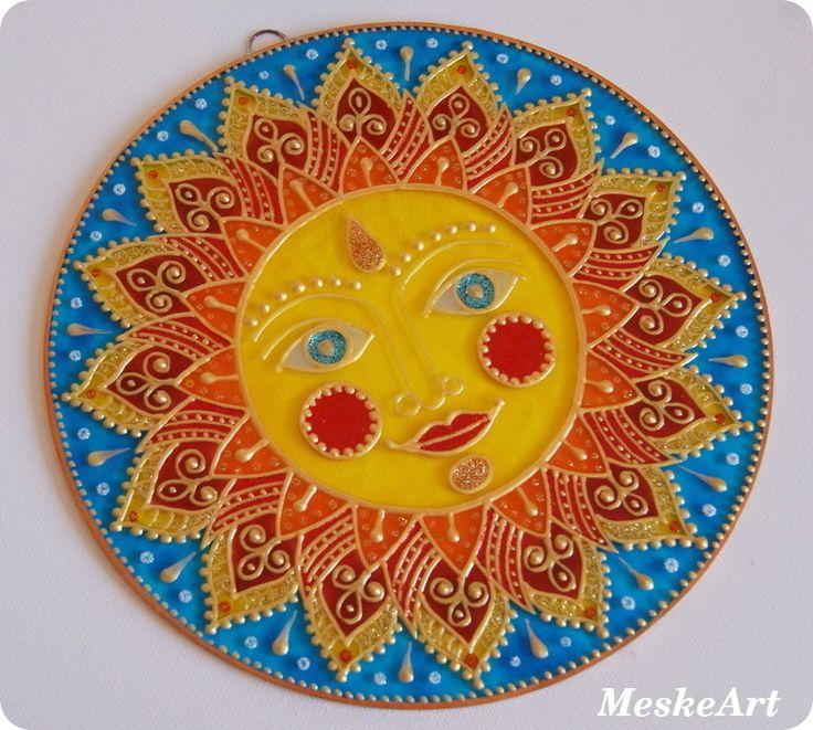 Nap mandala 20 cm-es rézkeretes üveglapon / Sun mandala #mandala